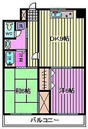 フクロク・ハイ・マンション 2号館[601号室]の間取り