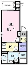 JR大阪環状線 野田駅 徒歩5分の賃貸マンション 2階1Kの間取り