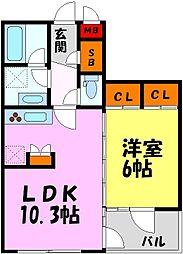 ダイナシティ夙川公園 2階1LDKの間取り