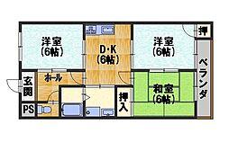 ファミーユTAKADA 2階2LDKの間取り