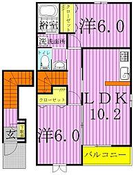 千葉県野田市上花輪の賃貸アパートの間取り