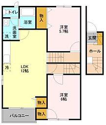 サンライズ3[1階]の間取り