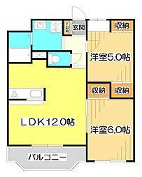 埼玉県ふじみ野市駒林の賃貸マンションの間取り