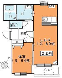 ルミウス 3階1LDKの間取り