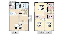[タウンハウス] 兵庫県川西市大和東1丁目 の賃貸【兵庫県 / 川西市】の間取り