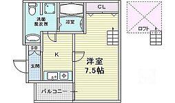 ディー・シモンズ西梅田[2階]の間取り
