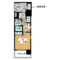 エステムコート名古屋黒川シャルマン 13階1Kの間取り