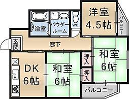 中村マンション[201号室号室]の間取り