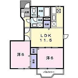 埼玉県東松山市松山町1丁目の賃貸アパートの間取り