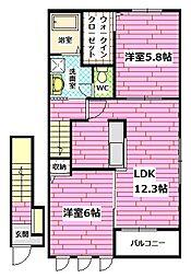 広島県広島市安佐南区相田2丁目の賃貸アパートの間取り