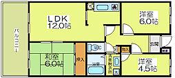 大阪府大阪市福島区吉野5丁目の賃貸マンションの間取り