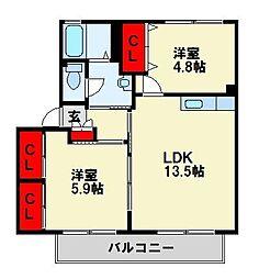 福岡県北九州市八幡西区石坂3丁目の賃貸アパートの間取り