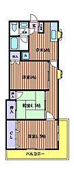 東京都日野市栄町3丁目の賃貸マンションの間取り