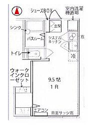 神奈川県秦野市鶴巻南4丁目の賃貸アパートの間取り