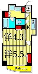 JR高崎線 尾久駅 徒歩7分の賃貸マンション 2階2Kの間取り