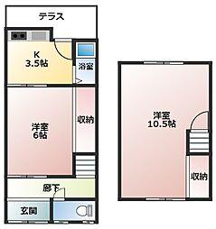仲川貸家 1階2Kの間取り