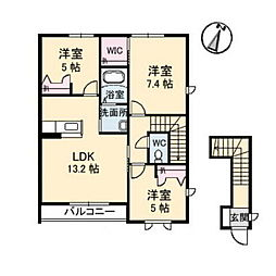 岡山県総社市地頭片山の賃貸アパートの間取り