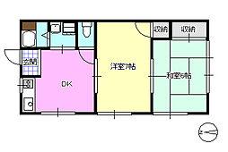 第2峰尾荘[203号室]の間取り