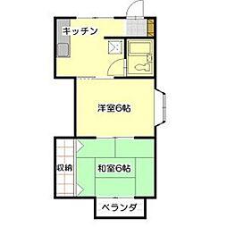長野県飯田市鼎一色の賃貸アパートの間取り