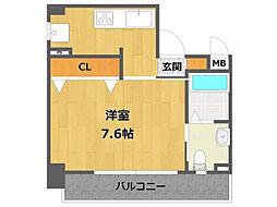 ロイヤルメゾン宝塚 9階1Kの間取り