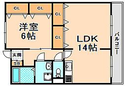 兵庫県伊丹市西台2丁目の賃貸マンションの間取り