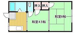 東荘B棟[2階]の間取り