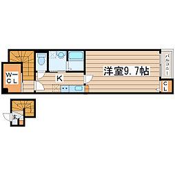 ドゥース北仙台 2階1Kの間取り