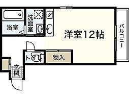 JR山陽本線 広島駅 バス15分 羽衣町下車 徒歩4分の賃貸アパート 2階ワンルームの間取り