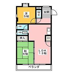 コーポいのくて[4階]の間取り