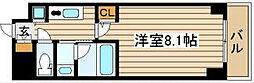 QCフラット北堀江[8階]の間取り