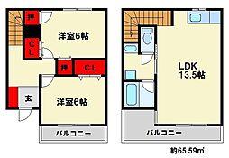福岡県大野城市若草3丁目の賃貸アパートの間取り
