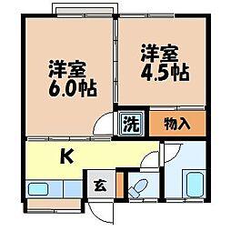 長崎県長崎市椎の木町の賃貸アパートの間取り