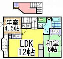 福岡県中間市土手ノ内1丁目の賃貸アパートの間取り