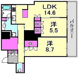 ローレルタワー尼崎[17階]の間取り
