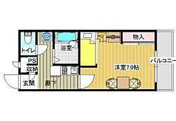 大阪府富田林市中野町2丁目の賃貸アパートの間取り