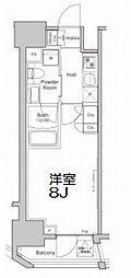 プラウドフラット浅草橋II 8階1Kの間取り
