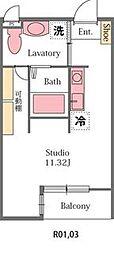 埼玉県東松山市大字宮鼻の賃貸アパートの間取り