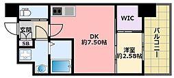 セレニテ甲子園プリエ 5階1DKの間取り