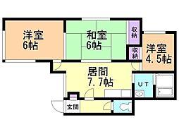 井上マンションII 2階3LDKの間取り