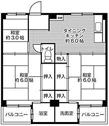 ビレッジハウス葛ノ葉6号棟[3階]の間取り
