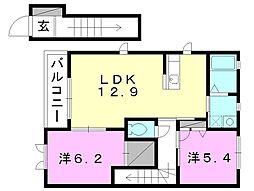 モダンヴィレッジA〜D棟[B202 号室号室]の間取り