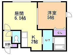 プランタンKIKUSUI 2階1LDKの間取り