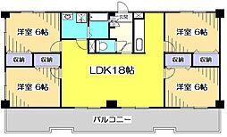 東京都国立市谷保の賃貸マンションの間取り