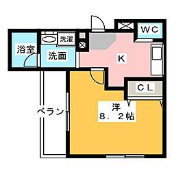 ルソレイユ桜木町 1階1Kの間取り