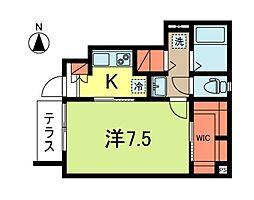 東京メトロ丸ノ内線 新高円寺駅 徒歩7分の賃貸アパート 1階1Kの間取り