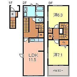 愛知県西尾市徳次町下十五夜の賃貸アパートの間取り