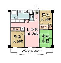 埼玉県越谷市東大沢5丁目の賃貸マンションの間取り