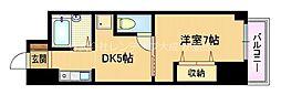 京阪本線 野江駅 徒歩5分の賃貸マンション 2階1DKの間取り