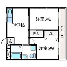 アークマンション[302号室]の間取り