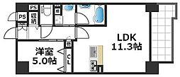 グランパシフィック花園Luxe 2階1LDKの間取り